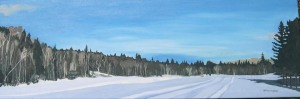 "Panorama Ski Trails, 2006, Oil on Canvas, 36"" x 12"""