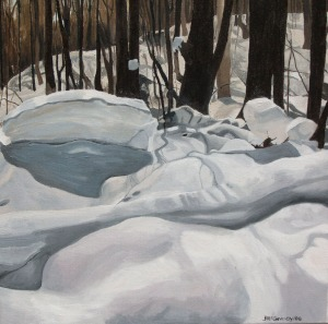 "Snow Shadows Deerhurst, 2006, Oil on Canvas, 16"" x 16"""