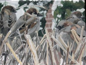 "Sparrows in Winter, 2006, Oil on Canvas, 16"" x 12"""