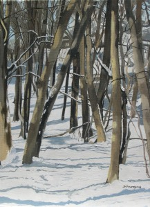 "Trees, Lawrence Park, 2006, Oil on Canvas, 12"" x 16"""