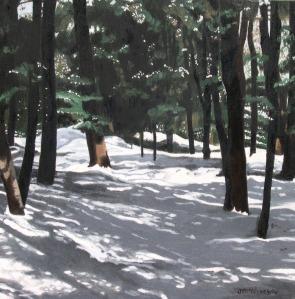 "Forest Shadows, 2006, Oil on Canvas, 16"" x 16"""