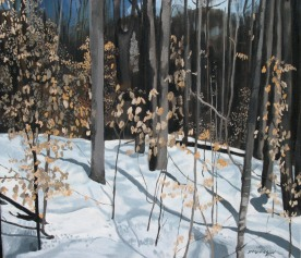 "Yellow Leaves Deerhurst, 2006, Oil on Canvas, 18"" x 18"""