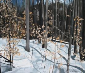 "Yellow Leaves Deerhurst, 2006, Oil on Canvas, 18"" x 18"""