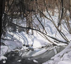"Chatsworth Ravine , 2007, Oil on Canvas, 24"" x 24"""