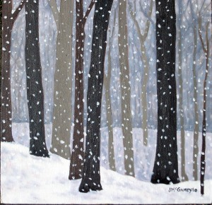 "Snow Flurries 2, 2010, Oil on Canvas, 9"" x 12"""