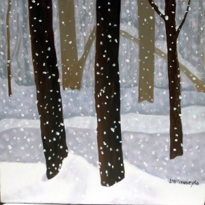 "Snow Flurries 3, 2010, Oil on Canvas, 9"" x 12"""