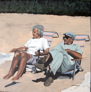 "Sunning, 2009, Oil on Canvas, 18"" x 18"""