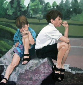 "Brothers, 2007, Oil  on Canvas 18""x18"""