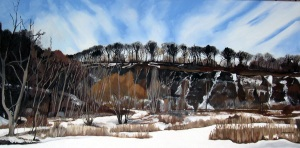 "The Brickworks in Winter , 2009, Oil on Canvas, 36"" x 18"""
