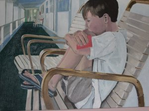 "Deep in Thought, 1993-2005, Oil on Board, 18"" x 12"""