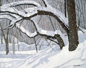 "Chatsworth Ravine Flurries # 2, 2010, Oil on Canvas, 24"" x18"""