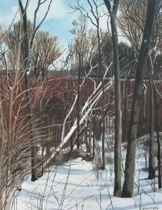 "The Fallen Birch, 2006, Oil on Canvas, 16"" x 20"""
