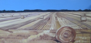 "Hay Fields, 20009, Oil on Canvas, 30"" x 15"""