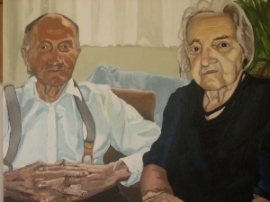 "Herman and Anna, 2005, Oil on Canvas, 18"" x 18"""