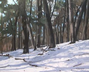 "Winterscape, Sherwood Park, 2008, Oil on Canvas, 20"" x 16"""