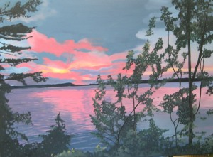 "Kawartha Sunset, 2009, Oil on Canvas, 36"" x 30"""