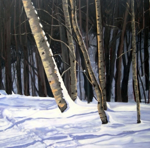 Birches in Winter, 2012, 30 x 30, Oil on Canvas