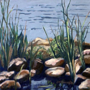 Study, Grasses Lake Wilcox #1, 2012, 12 x 12 , Oil on canvas