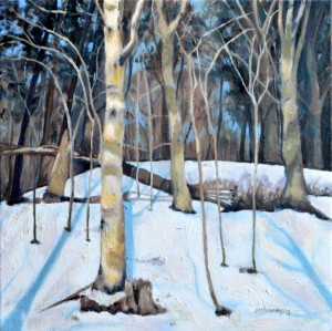 Birches in the Snow , Oil on Canvas, 16 x 16