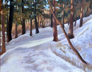 Path in the winter Woods , Oil on Canvas, 16 x 20