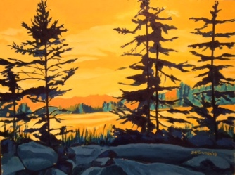 "Evergreens Sunset Oil on Panel 112"" x 16"""